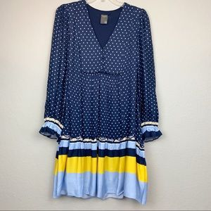 NWT Taylor Polka Dot Striped-Hem Dress, Size 10